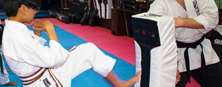 Brown/white stripe belt student